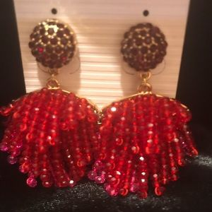 BaubleBar Red and Pink Crystal Drop Earrings.